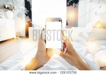 Visual Effects. Cropped Shot Of Woman's Hands Holding Cell Phone With Blank Screen For Your Promotio