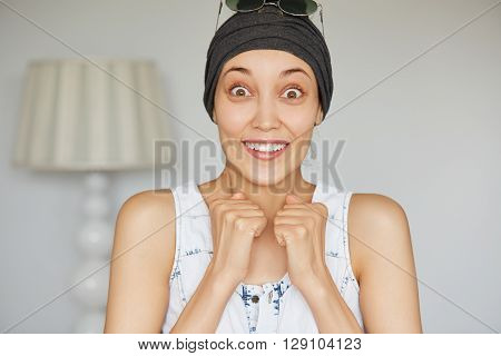 Surprised Woman Holding Clenched Fists Astonished Or Shocked With Unexpected News. Student Girl Posi