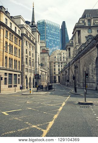 Empty London streets in the financial area know as The City