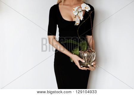 Cropped Portrait Of Beautiful Slim Woman Wearing Elegant Black Midi Dress With Low Neck, Holding Orc