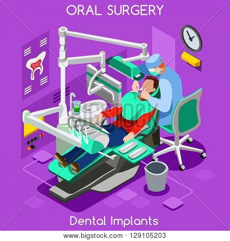 Dental implant teeth hygiene and whitening oral surgery centre dentist and patient. Flat 3D isometric people dentistry clinic room dental cosmetic implant. Dentist JPG illustration.