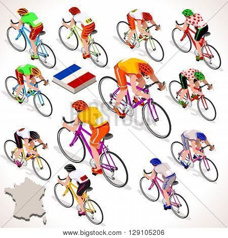 Tour de France racing cyclist group riding bicycle path. Vector cyclist icon. Cyclist icons. Flat 3D isometric people set of vector cyclist and bicycle icons. Isometric bicycle group