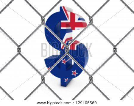 New Zealand Flag Dollar Symbol Behind Chain Link Fence With Depth Of Field - 3D Illustration