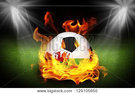 close up on Wales Soccer ball on fire Football