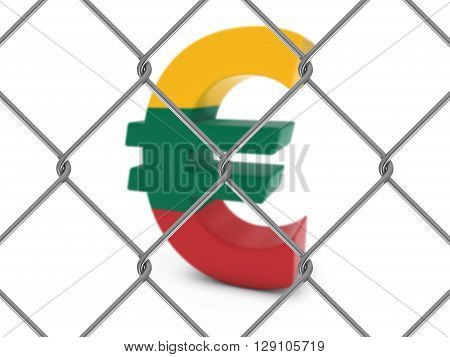 Lithuanian Flag Euro Symbol Behind Chain Link Fence With Depth Of Field - 3D Illustration