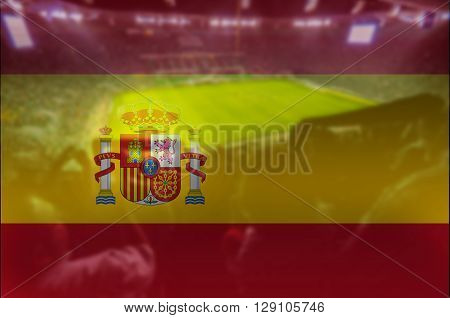 close up on stadium with blending Spain flag