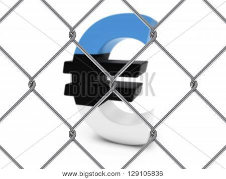 Estonian Flag Euro Symbol Behind Chain Link Fence With Depth Of Field - 3D Illustration