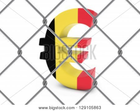 Belgian Flag Euro Symbol Behind Chain Link Fence With Depth Of Field - 3D Illustration