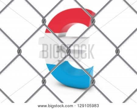 Luxembourg Flag Euro Symbol Behind Chain Link Fence With Depth Of Field - 3D Illustration