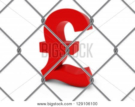 Red Pound Symbol Behind Chain Link Fence With Depth Of Field - 3D Illustration