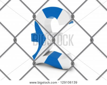 Scottish Flag Pound Symbol Behind Chain Link Fence With Depth Of Field - 3D Illustration