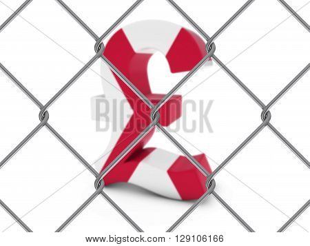 Northern Irish Flag Pound Symbol Behind Chain Link Fence With Depth Of Field - 3D Illustration