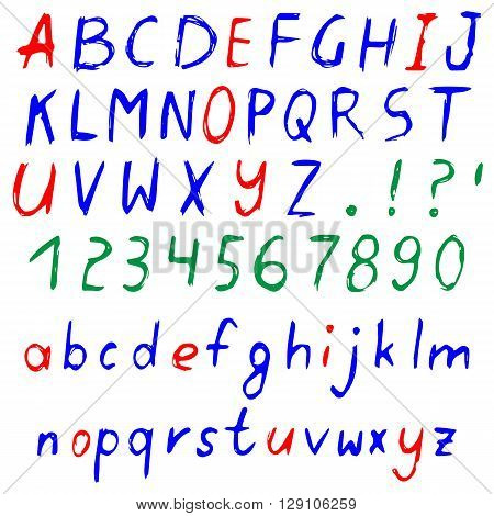 Hand drawn colored alphabet written cartoon font with capital and lowercase letters also numbers and punctuation. Isolated on white. Vector illustration