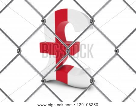 English Flag Pound Symbol Behind Chain Link Fence With Depth Of Field - 3D Illustration
