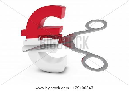 Monaco Price Cut/deflation Concept - Monegasque Flag Euro Symbol Cut In Half With Scissors - 3D Illu