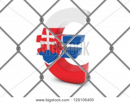 Slovakian Flag Euro Symbol Behind Chain Link Fence With Depth Of Field - 3D Illustration