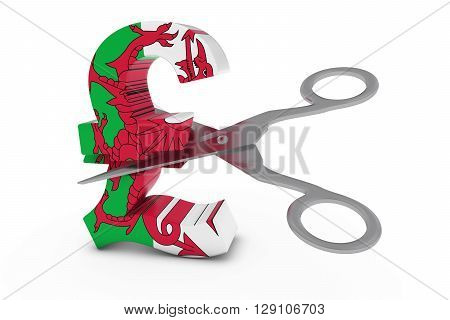 Wales Price Cut/Deflation Concept - Welsh Flag Pound Symbol Cut in Half with Scissors - 3D Illustration