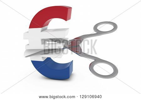 Netherlands Price Cut/deflation Concept - Dutch Flag Euro Symbol Cut In Half With Scissors - 3D Illu