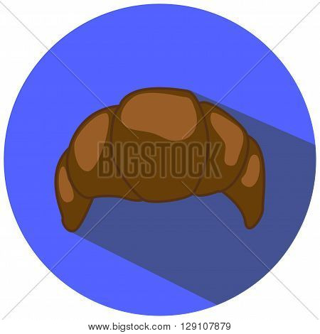 Chocolate croissant vector illustration in flat style, hand-drawn bakery, chocolate pastry picture, chocolate croissant icon, french bakery for breakfast, croissant drawing on blue, isolated croissant
