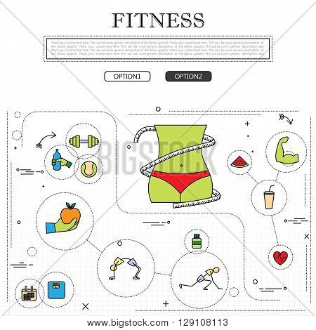 Fitness Concept Of Fitness Training, Wellness In Outline Style