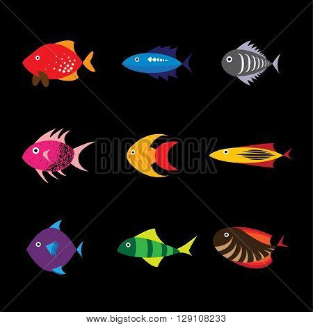 sea and ocean fishes vector logo icon in eps 10 format