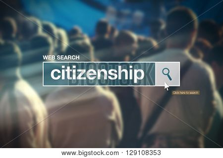 Citizenship - web search bar glossary term on internet