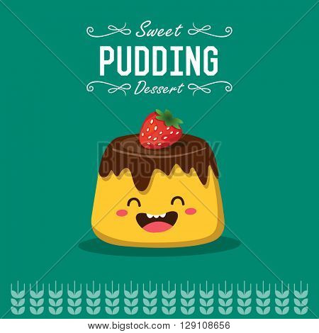 Vector pudding cartoon character illustration.