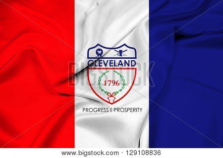 Waving Flag of Cleveland Ohio, with beautiful satin background.