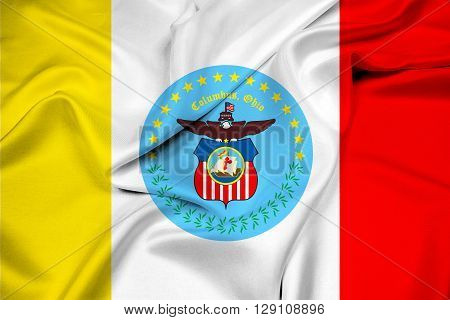 Waving Flag of Columbus Ohio, with beautiful satin background.