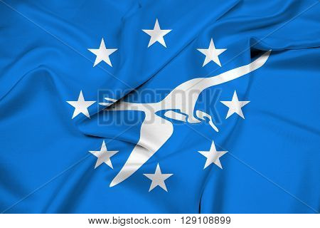 Waving Flag of Corpus Christi Texas, with beautiful satin background.