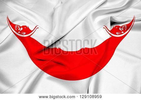 Waving Flag of Easter Island, with beautiful satin background.