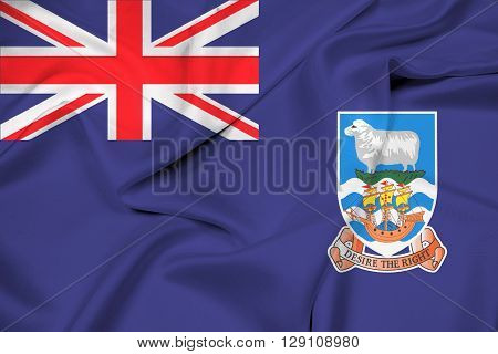 Waving Flag of Falkland Islands, with beautiful satin background.