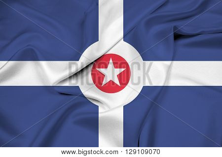 Waving Flag of Indianapolis Indiana, with beautiful satin background.