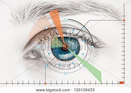 Scanner on the  blue human eye -