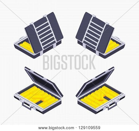 Set of the isometric open briefcases with the golden bars. The objects are isolated against the white background and shown from different sides