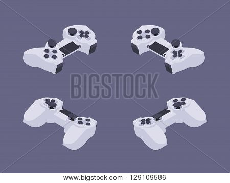 Set of the isometric white gamepads. The objects are isolated against the dark-violet background and shown from different sides