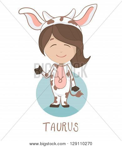 Cute cartoon vector character of a girl in a cow costume. Children taurus horoscope icon