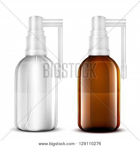 Vector Blank Glass Medical Spray Bottle Isolated on White Background