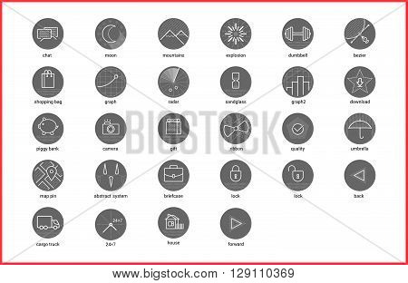 Vector illustration of thin line icons for website, business advertising, social media, technology, logistic, education, data, Linear symbols set.