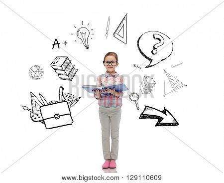 childhood, school, education, learning and people concept - happy little girl in eyeglasses reading book with doodles