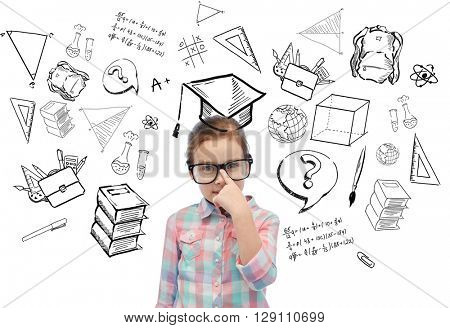 childhood, school, education, learning and people concept - happy little girl in eyeglasses with doodles