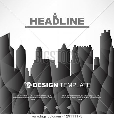 silhouette skyscrapers city landscape geometric design brochure leaflet background. eps10 vector
