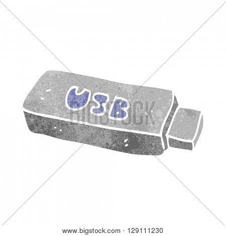 freehand retro cartoon USB stick
