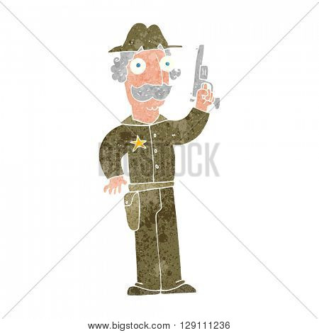 freehand retro cartoon sheriff