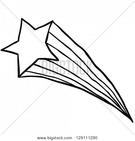 black and white falling star cartoon illustration isolated on white