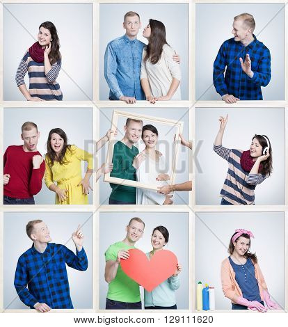 Small images of happy loving marriage reminding old times of youth and first dates