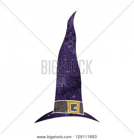 freehand retro cartoon witch's hat