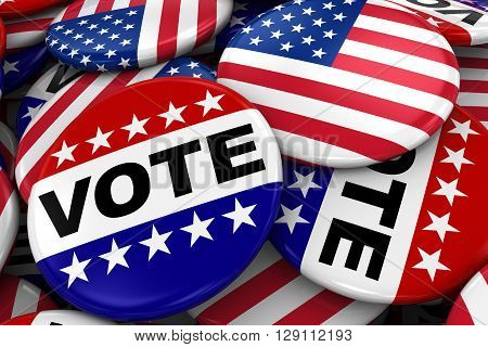 Us Elections Concept Image - Mix Of Vote And American Flag Badges In Pile - 3D Illustration