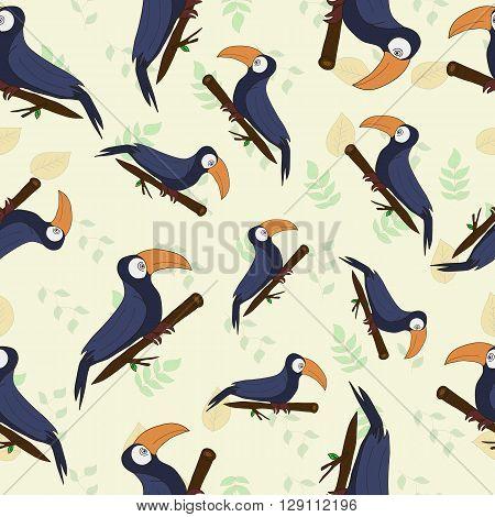 seamless texture tropical toucan bird big beak cartoon