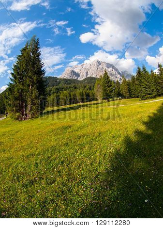 Zugspitze, the highest mountain in Germany. View from Austria. Fisheye view.